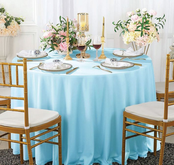 """120"""" Seamless Round Scuba (Wrinkle-Free) Tablecloth - Baby Blue 20620 (1pc/pk)"""