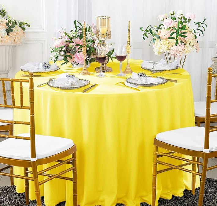 """120"""" Seamless Round Scuba (Wrinkle-Free) Tablecloth - Canary Yellow 20616 (1pc/pk)"""