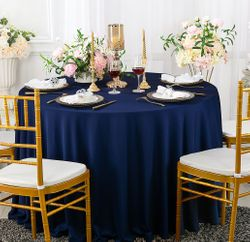 "120"" Seamless Round Scuba (Wrinkle-Free) Tablecloth - Navy Blue 20623 (1pc/pk)"