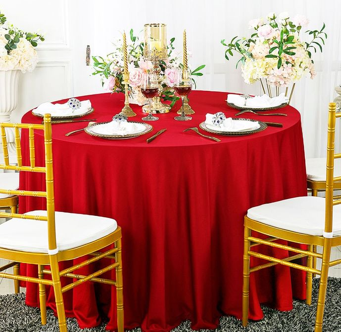 """120"""" Seamless Round Scuba (Wrinkle-Free) Tablecloth - Red 20612 (1pc/pk)"""