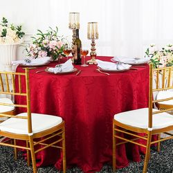 """120"""" Versailles Chopin Round Jacquard Damask Polyester Tablecloth - Apple Red 92608(1pc/pk)"""