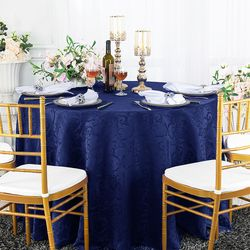 "120"" Versailles Chopin Round Jacquard Damask Polyester Tablecloth - Navy Blue 92623(1pc/pk)"