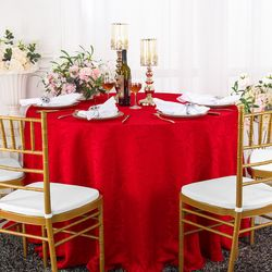 "120"" Versailles Chopin Round Jacquard Damask Polyester Tablecloth - Red 92612(1pc/pk)"