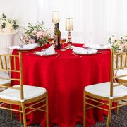"""120"""" Versailles Chopin Round Jacquard Damask Polyester Tablecloth - Red 92612(1pc/pk)"""