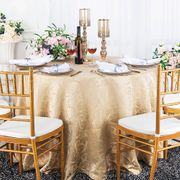 """120"""" Versailles Chopin Round Jacquard Damask Polyester Tablecloth - Champagne 92628(1pc/pk)"""