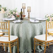 """120"""" Versailles Chopin Round Jacquard Damask Polyester Tablecloth - Silver 92640(1pc/pk)"""