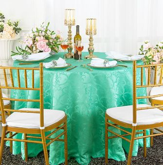 """120"""" Versailles Chopin Round Jacquard Damask Polyester Tablecloths (14 colors)"""