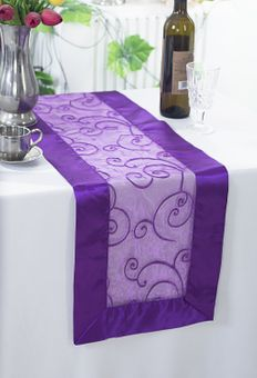 """12.75""""x 108"""" Embroidered Organza Table Runners (31 Colors)"""