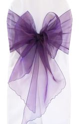 "12""x 116"" Angle End Organza Chair Sashes - (41 colors)"