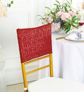 """13.5""""x10"""" Sequin Spandex Chair Caps - Apple Red 00208 (1pc/pk)"""