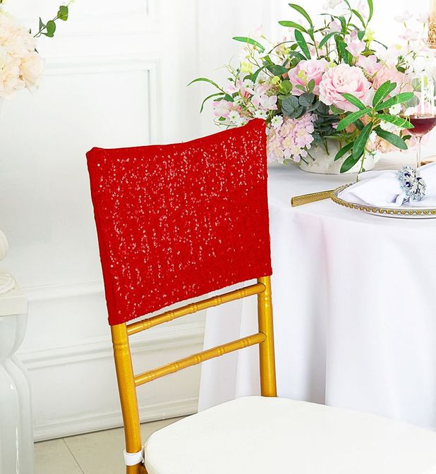"""13.5""""x10"""" Sequin Spandex Chair Caps - Red 00212 (1pc/pk)"""