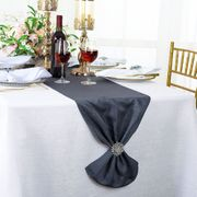 "13""x 108"" Sequin Paillette Poly Flax / Burlap Table Runner - Pewter / Charcoal  10360 (1pc/pk)"