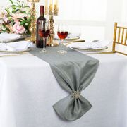 "13""x108"" Sequin Paillette Poly Flax / Burlap Table Runner - Silver 10340 (1pc/pk)"