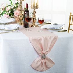 "13""x108"" Sequin Paillette Poly Flax / Burlap Table Runner - Blush Pink 10315 (1pc/pk)"