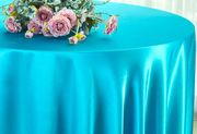 "132"" Round Satin Tablecloth - Turquoise 55985(1pc/pk)"
