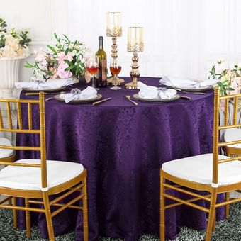 """132"""" Marquis Round Damask Jacquard Polyester Tablecloths (12 colors)"""