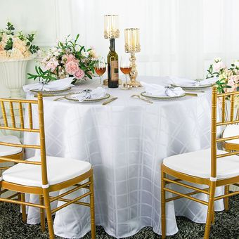 """132"""" Round Plaid Polyester Tablecloths (6 colors)"""