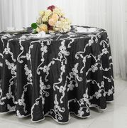 "132"" Round Ribbon Taffeta Tablecloth - Black/White 65679(1pc/pk)"