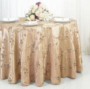 "132"" Round Ribbon Taffeta Tablecloth - Champagne 65628(1pc/pk)"