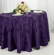 "132"" Round Ribbon Taffeta Tablecloth - Eggplant 65645(1pc/pk)"