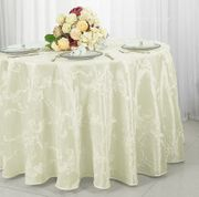 "132"" Round Ribbon Taffeta Tablecloth - Ivory 65602(1pc/pk)"