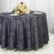 "132"" Round Ribbon Taffeta Tablecloth - Pewter / Charcoal 65660(1pc/pk)"