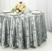 "132"" Round Ribbon Taffeta Tablecloth - Silver 65640(1pc/pk)"