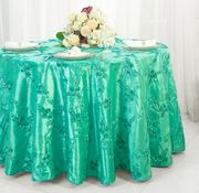 "132"" Round Ribbon Taffeta Tablecloth - Tiff Blue / Aqua Blue 65618(1pc/pk)"