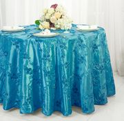 "132"" Round Ribbon Taffeta Tablecloth - Turquoise 65685(1pc/pk)"