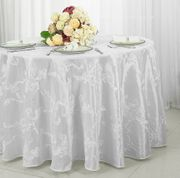 "132"" Round Ribbon Taffeta Tablecloth - White 65601(1pc/pk)"
