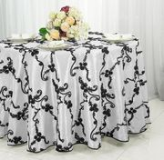 "132"" Round Ribbon Taffeta Tablecloth - White/Black 65669(1pc/pk)"