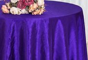 "132""  Round Crushed Taffeta Tablecloth - Regency Purple 63063(1pc/pk)"