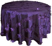 "132"" Round Forest Taffeta Tablecloths- Eggplant 67045(1pc/pk)"