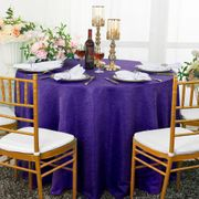 "132"" Round Paillette Poly Flax / Burlap Tablecloth - Regency Purple 10963 (1pc/pk)"