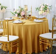 "132"" Round Scuba (Wrinkle-Free) Tablecloth - Gold 20727 (1pc/pk)"