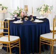 "132"" Round Scuba (Wrinkle-Free) Tablecloth - Navy Blue 20723 (1pc/pk)"