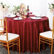 "132"" Round Sequin Taffeta Tablecloths - Apple Red 01408 (1pc/pk)"