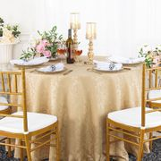 "132"" Round Jacquard Damask Polyester Tablecloth- Champagne 96728(1pc/pk)"