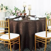 "132"" Round Jacquard Damask Polyester Tablecloth- Chocolate 96791(1pc/pk)"