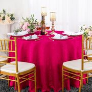 "132"" Round Jacquard Damask Polyester Tablecloth- Fuchsia 96709(1pc/pk)"