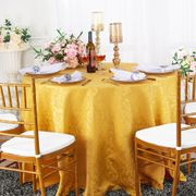 "132"" Round Jacquard Damask Polyester Tablecloth- Gold 96727(1pc/pk)"