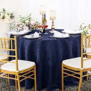 "132"" Round Jacquard Damask Polyester Tablecloth- Navy Blue 96723(1pc/pk)"
