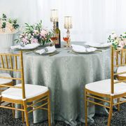 "132"" Round Jacquard Damask Polyester Tablecloth- Silver 96740(1pc/pk)"