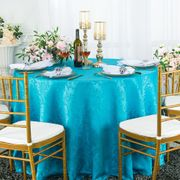 "132"" Round Jacquard Damask Polyester Tablecloth- Turquoise 96785(1pc/pk)"