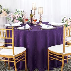 "132"" Floral Round Jacquard Damask Polyester Tablecloths (14 colors)"