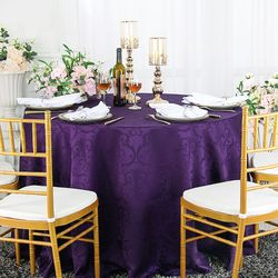 "132"" Versailles Chopin Round Jacquard Damask Polyester Tablecloths (14 colors)"