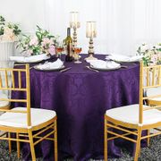"132"" Versailles Chopin Seamless Round Jacquard Damask Polyester Tablecloths (14 colors)"