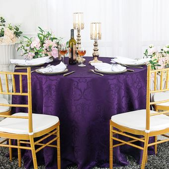 """132"""" Versailles Chopin Round Jacquard Damask Polyester Tablecloths (14 colors)"""