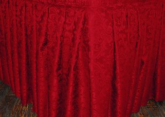 17' Accordion Pleat Floral Damask Jacquard Polyester Table Skirts (13 colors)