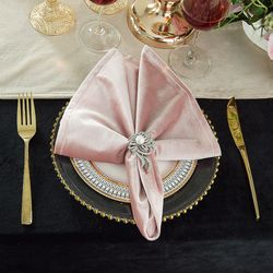 "20"" x 20"" Italian Velvet Table Napkins - Blush Pink 25015 (10pcs/pk)"